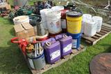Lot of Misc Oil Buckets -Manual Pump - Oil Can - Hydraulic Oil