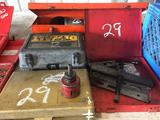 Lot of Misc Hole Saws - Palm Sanders - Water Ram- Wheel Puller