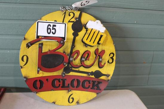 ROUND BEER O'CLOCK SIGN