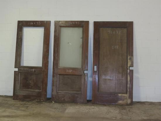 3 Reclaimed Vintage Mahogany Solid Core Doors