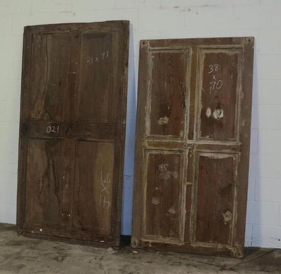 2 Reclaimed Antique Cypress Extra Wide four panel doors