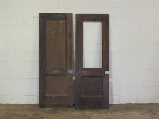 2 Reclaimed Vintage Mahogany Solid Core 1 panel & glass plus 2 panel Doors
