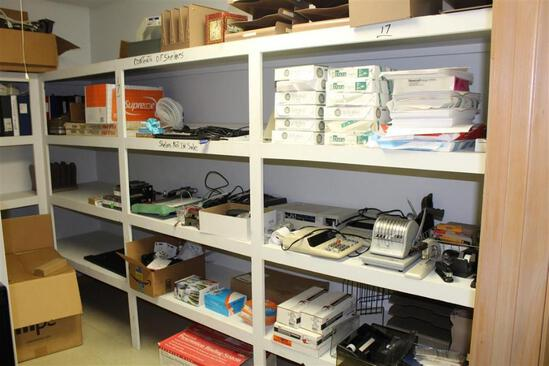 Content of Shelves such as office supplies, time clock, radio w/speakers, binders, staplers, staples