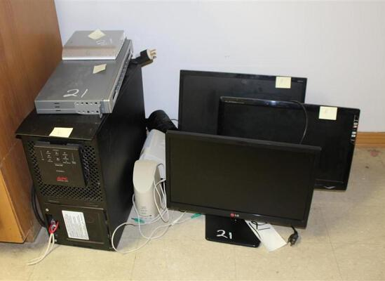 Lot of Misc Computer Parts -- Screens, Cords, Tower
