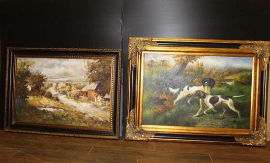 (2) Pictures -- (1)of a Country Road 30x43 Inch and (1) of Dogs 47x35 Inch