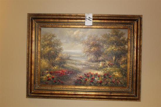 35 Inch x 47 Inch Framed Picture (Trees and Flowers)
