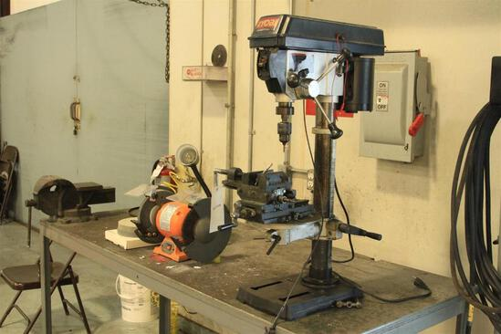 "Table w/ Ryobi 12"" drill press, Central Machinery 8"" bench grinder, 6"" vice"