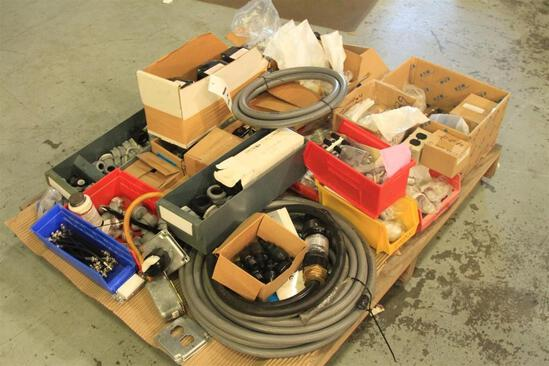 pallet of electrical conduit, boxes, cables,etc...