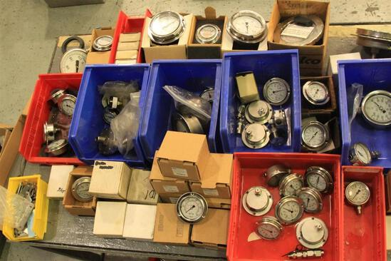 Lot of pressure gauges up to 30,000 PSI, etc...