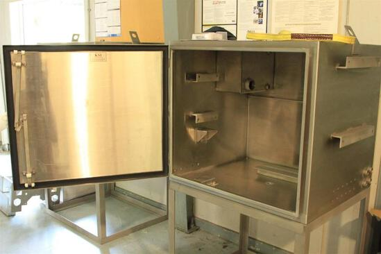 "stainless steel control cabinet Box dimenstions: 2'7"" x 2'7"" x 3' overall height 56"""