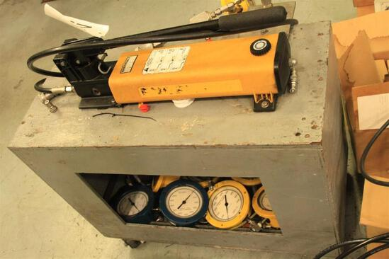 Enerpac high pressure test pump 40,000 PSI w/ 8 various test gauges