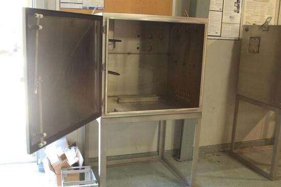 "Stainless steel control cabinet Box dimensions: 2'7"" x 2'7"" x 3' overall height 56"""