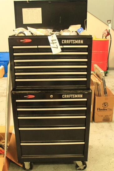 Craftsman rolling tool chest w/ misc tools, fittings and implements