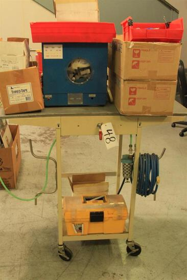 Federal Process thread tape machine with rolling stand, etc