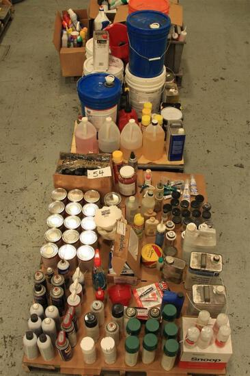 Lot of hydraulic oil, brake cleaner, aircraft oil, liquid leak detector, etc