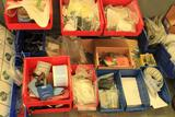 misc items on table-top (excluding vice) various electrical, hardware, fastners, lock out tags,