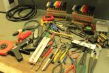 Lot of assorted tools: allen wrenches, pliers, etc