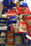 Large lot of misc fasteners, pipe cutting tools, Versa valve rockers, hose clamps, hinges, bolts,