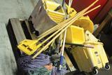 Pallet of floor mop buckets and mops