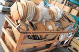 Large lot of heat shring tubing in various sizes, including rolling cart