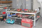 Lot of hand tools, to include sockets, ratches, combination wrenches, hammers, air tools, clamps,