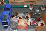 Lot of assorted Textron MILSPEC lights; lenses, connectors and boots, cabling, horns, light shields