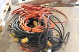Lot of extension cords, jumper cables,