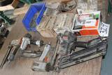 Lot of nail guns, Senco, (2) Paslode, Porter Cable w/ assorted nails
