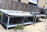 Lot of steel frame shop tables