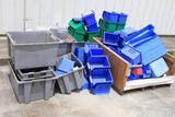 Lot of ULINE plastic storage bins