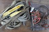 Lot of lifting straps, rigging, chain, and comealongs