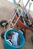 wheelbarrow, hand truck and misc hand tools