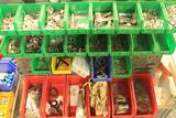 Lot of industrial magnets, 2 large bags of descicant, (6) All Pro Emergency EXIT Lights, etc...