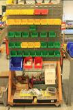 Roll around parts bin caddy w/ assorted bins (CONTENTS NOT INCLUDED)