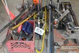 PALLET OF MISC TOOLS, LEVELS AND WRENCHES