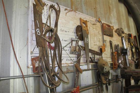 Lot of Wood Clamps, Hand Saws and Misc Tools
