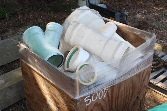 BOX OF PVC PIPE FITTINGS