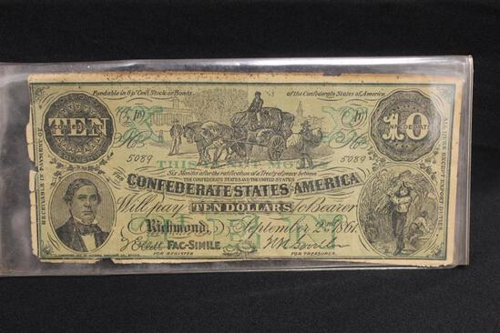 CONFEDERATE STATES AMERICA, September 2nd 1861, Will Pay Ten Dollars to Bearer