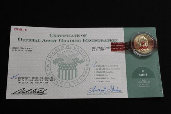 """CERTIFICATE OF OFFICIAL ASSET GRADING REGISTRATION """"A GRADE"""" Never circulated US Legal Tender Coins"""