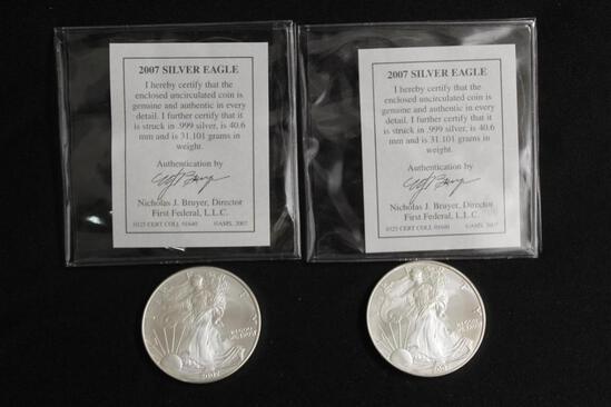 (2) 2007 SILVER EAGLE DOLLARS