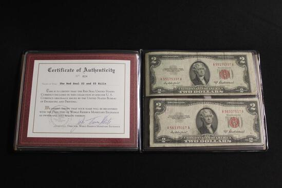 THE RED SEAL #2 BILLS, Certificate of Authenticity with Four Two Dollar Bills