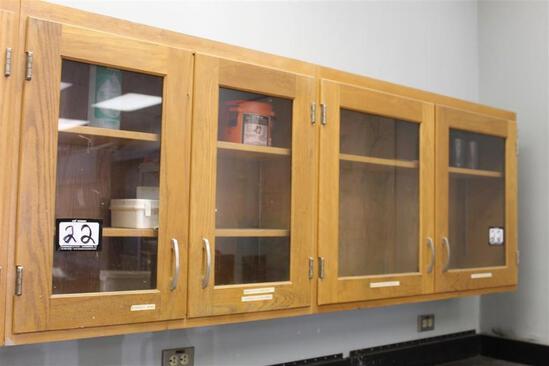 """Lot of (2) 46 1/2"""" x 30"""" x 12"""" 2 Door Wood Cabinet w/ Contents"""