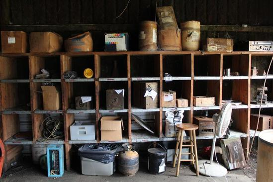 Lot of Wood Shelves with Injection Molding Contents