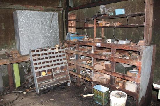 Lot of Wood Shelving with Misc Parts and Hardware