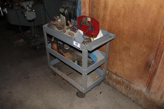 Metal Roll Around Cart with Contents