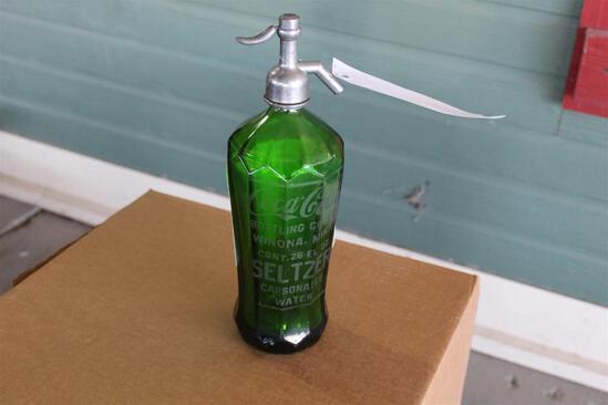 Glass Coca-Cola Seltzer Bottle