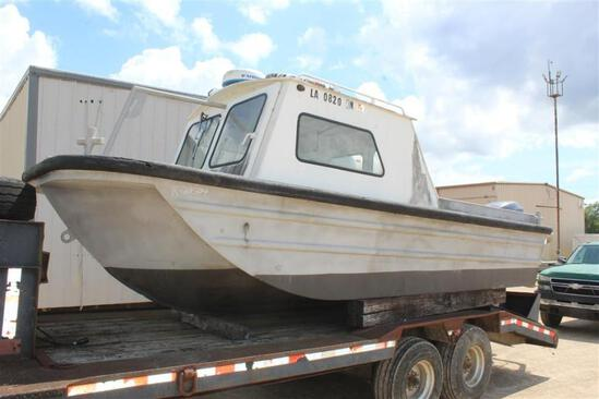 1991 20FT CREW BOAT W/ 22FT FLATBED TRAILER