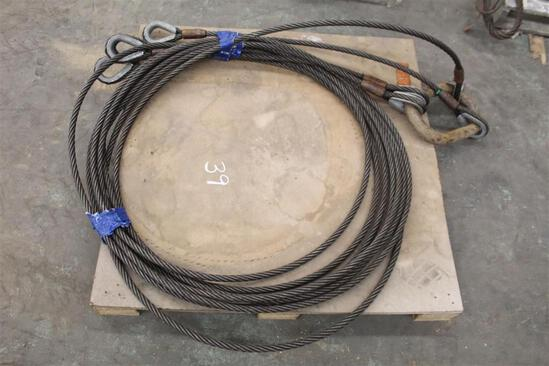 """3/4"""" WIRE ROPE 4-WAY BRIDLE W/ CROSBY MASTER LINK AND THIMBLE EYES"""