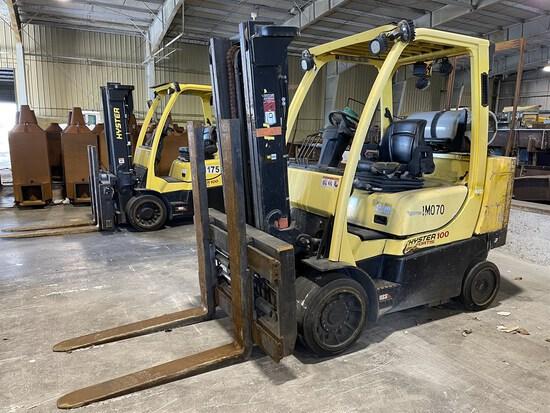 2015 HYSTER S100FTBCS/150J LP Forklift, s/n J004V02097N, 10,000 Lb. Capacity, 2-Stage Mast,