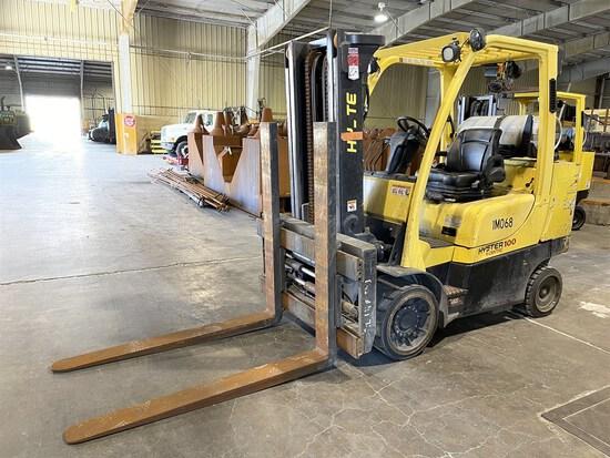 2015 HYSTER S100FTBCS/150J LP Forklift, s/n J004V02096N, 10,000 Lb. Capacity, 2-Stage Mast,